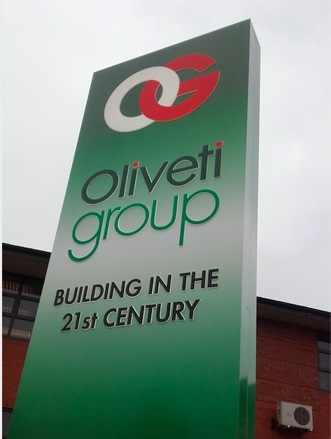 Oliveti Group entrance sign - building in the 21st century
